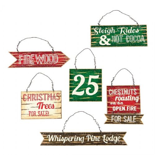 Winter's Lodge Small Signage Ornaments Set of 6